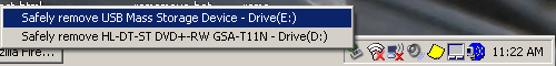 screenshot of drives to disconnect