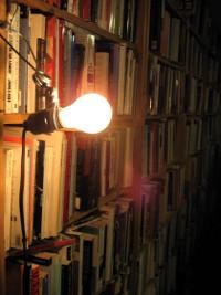 Task lighting on a bookshelf