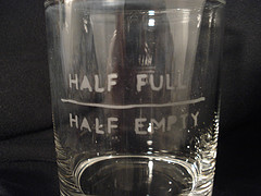Glass with half full and half empty mark
