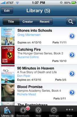 OverDrive Media Console app for iPhone