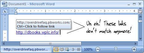 Screen shot showing mismatched link text and destination URL