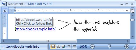 Screen shot showing that the link text and destination URL match