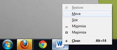 Use Shift + right-click, pick Move, then arrow keys
