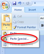 MS Word - Paste Special