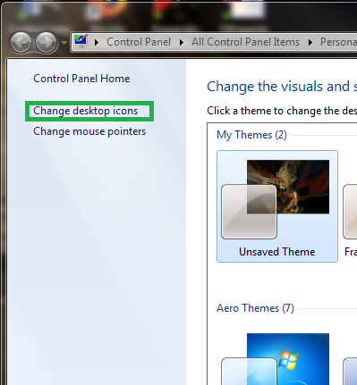 Change desktop icons button
