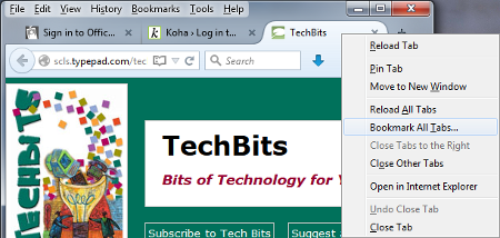 Right click a tab and select Bookmark All Tabs
