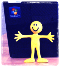 Smiley guy with PC