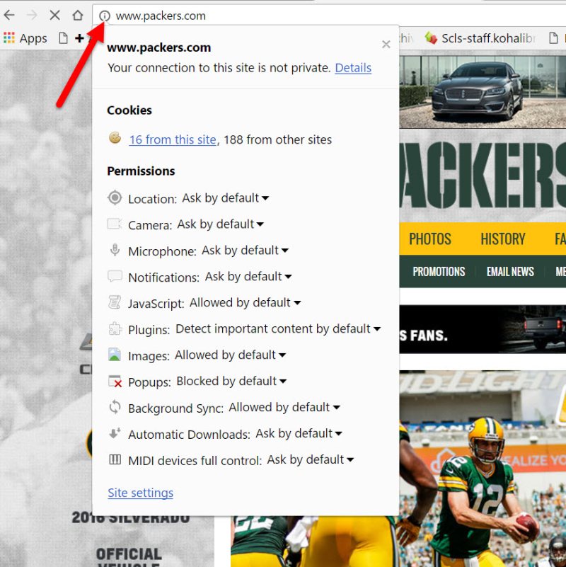Packers arrow