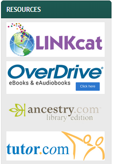 Screen shot of database icons showing LINKcat, OverDrive, and Tutor.com with white backgrounds, but no white background on Ancestry.com