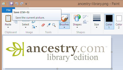 Screen shot of saving ancestry-library.png to add a white background