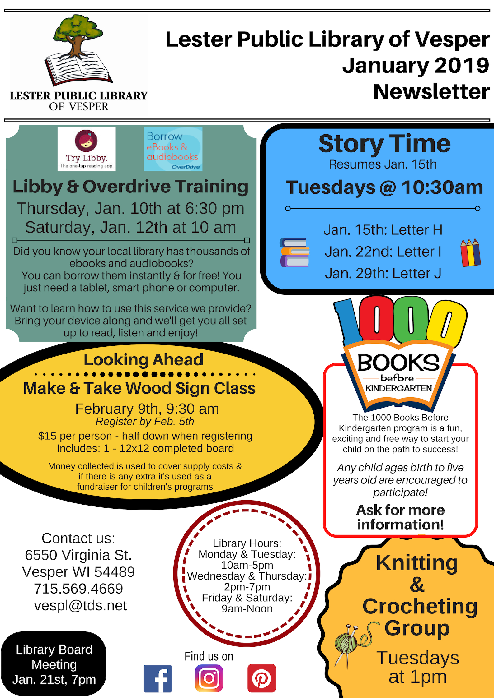 January 2019 Newsletter Libby Overdrive Training Story Time