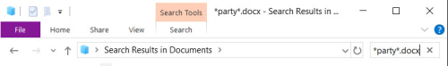 Search for *party*.docx