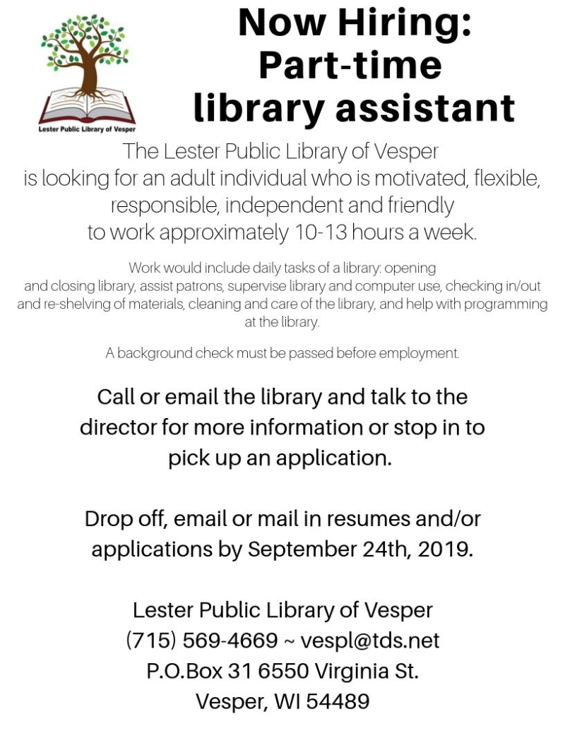 Now Hiring_ Part-time library assistant