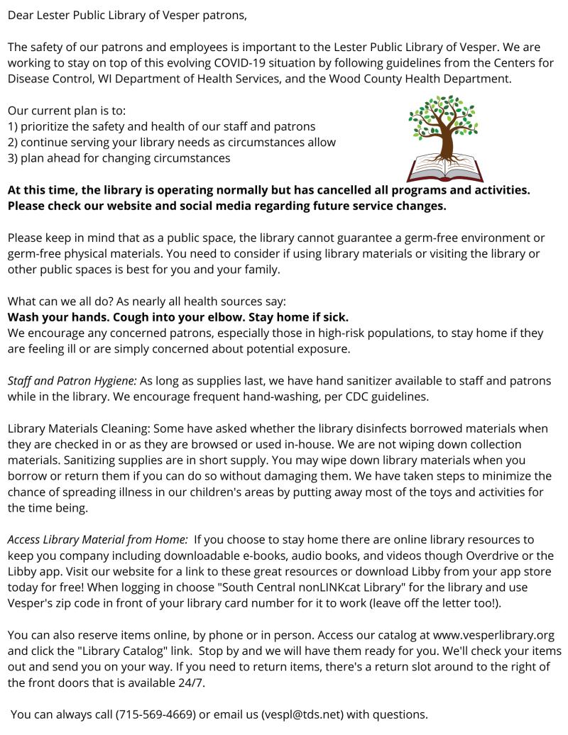 Vesper Library COVID-19 response