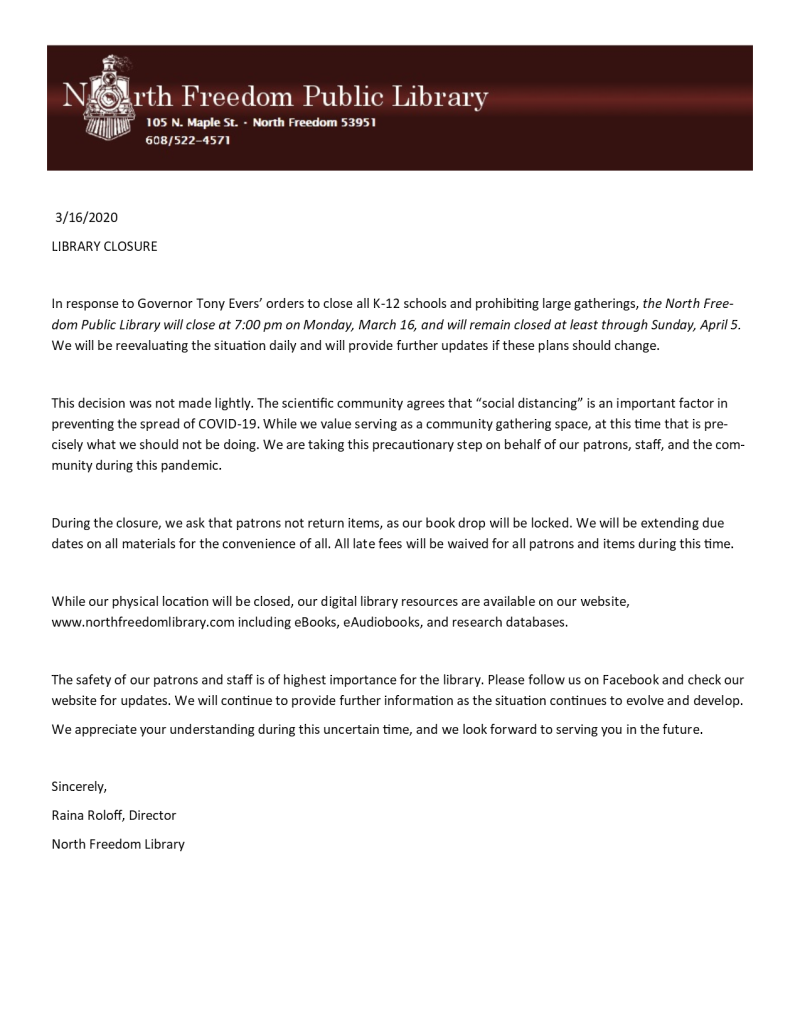 Closure letter to post