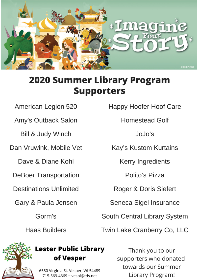 2020 Summer Library Program Supporters
