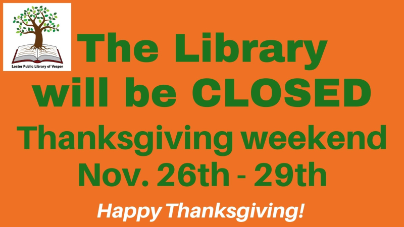 Thanksgiving Library CLOSED
