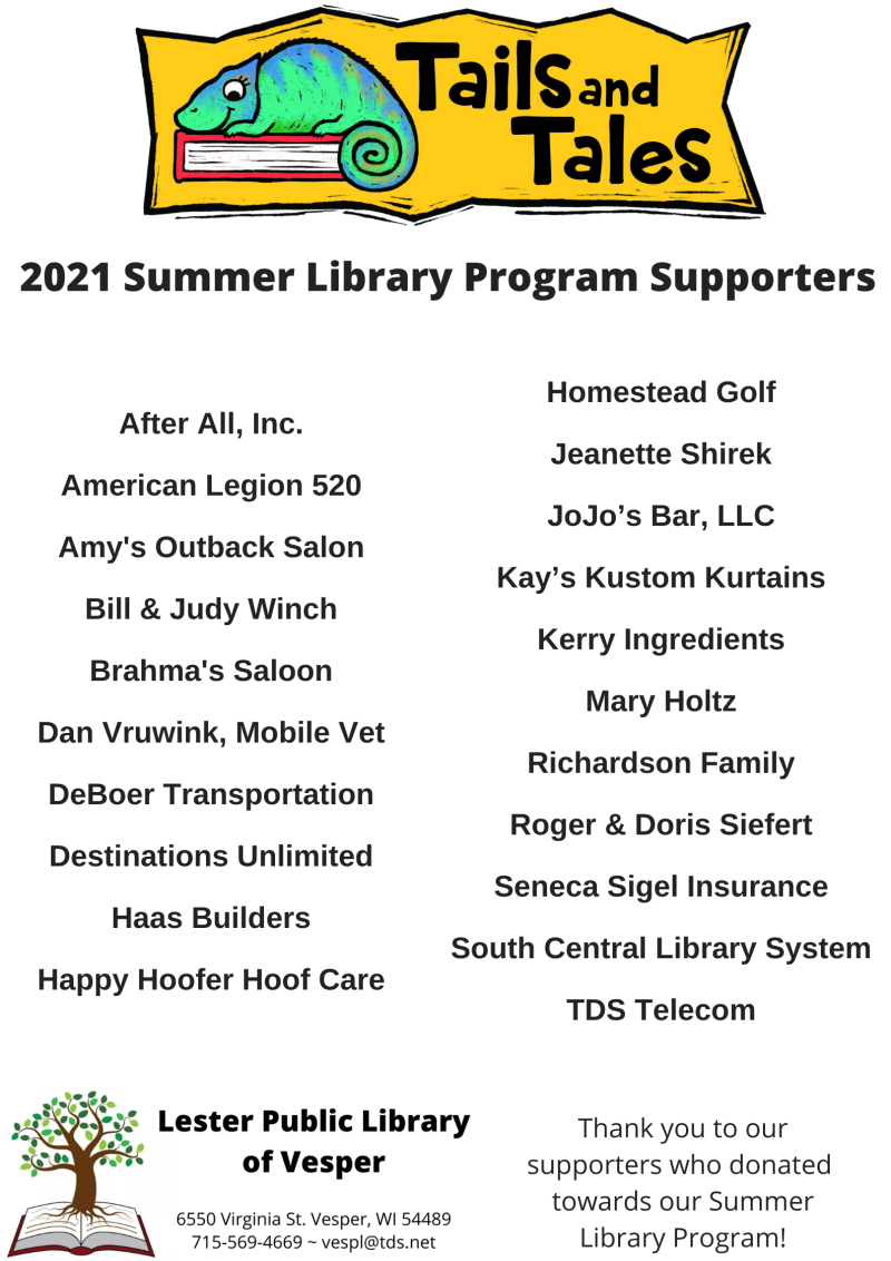 2021 Summer Library Program Supporters